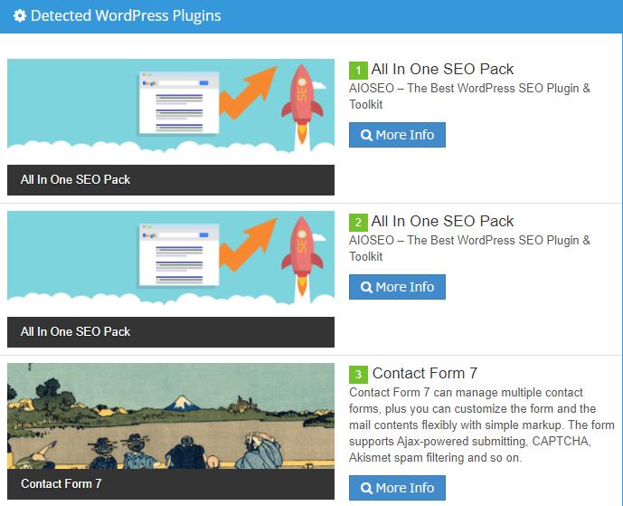 「What WordPress Theme Is That?」で調べたサイトが導入しているプラグインの一覧画面